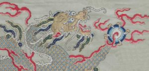 Detail of a Chinese coat with a dragon design