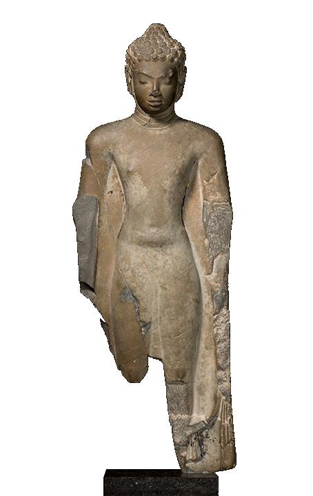 <em>Standing Buddha</em>, Northern Thailand, found near Chiang Mai, Dvaravati period (ca. 500–900 C.E.), 7th–8th century.