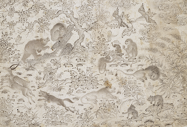 Attributed to Master Muhammad Siyah Qalam, Persian (1469–1525). <em>Birds and Beasts in a Flowery Landscape</em>, late 15th century, Turkman School (1419-ca. 1510).