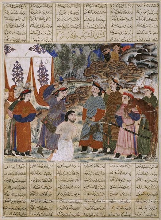 <em>Afrasiyab Killing Naudar, a folio from the Great Mongol Shahnama (Book of Kings)</em>, Persian, ca. 1335, Ilkhanid period (1256-1353).
