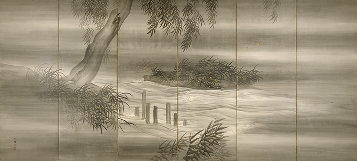 Shiokawa Bunrin, Japanese (1808-1877). <em>River Landscape with Fireflies</em>, 1874.