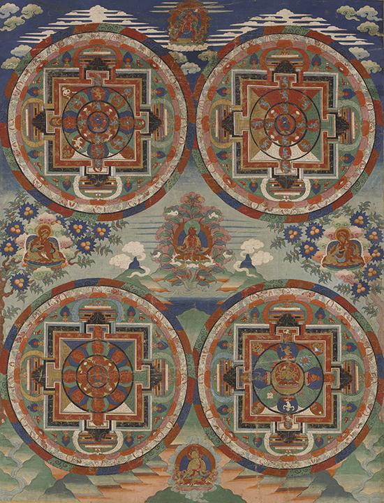 <em>Four Mandalas</em>, Central Tibet, 18th century, Menri Serma style (16th–20th century).