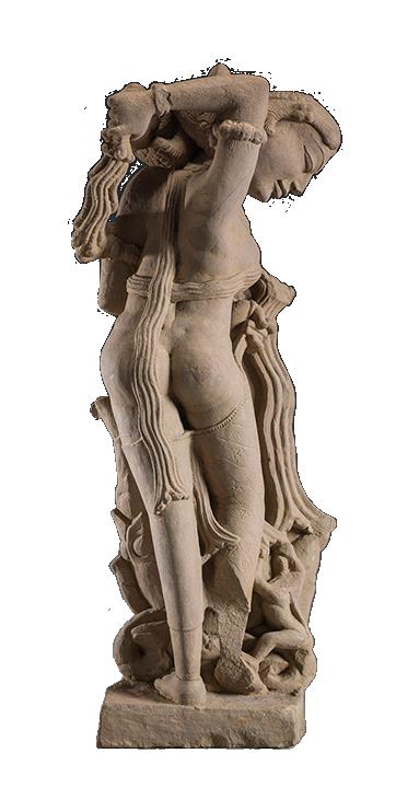 <em>Celestial Woman Undressed By a Monkey</em>, Central India, Madya Pradesh, Khajuraho region, Chandella Dynasty (900–1203 C.E.), ca. 975–1000.